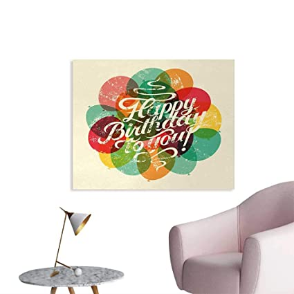 Amazon Tudouhoho Birthday The Office Poster Typographical Retro Style Grunge Card Inspired With Vintage Balloons Wall Paper Multicolor W32