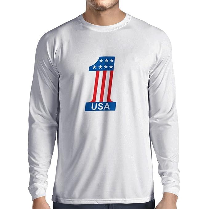 N4074L Camiseta de Manga Larga USA N1 (Small Blanco