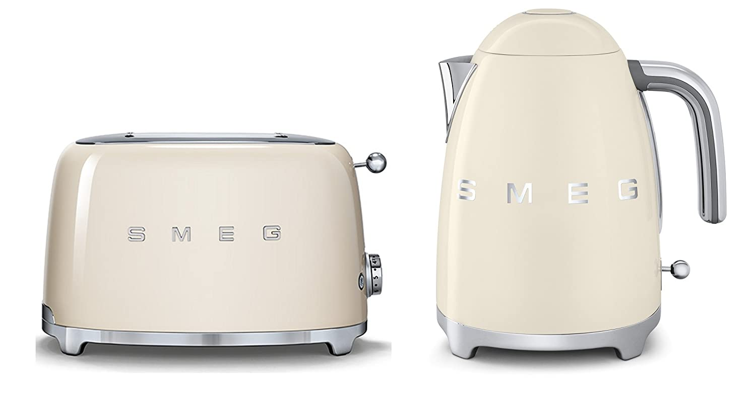 Smeg TSF01CRUK KLF01CRUK | 50s Retro Style 2 Slice Toaster & Kettle Set in Cream