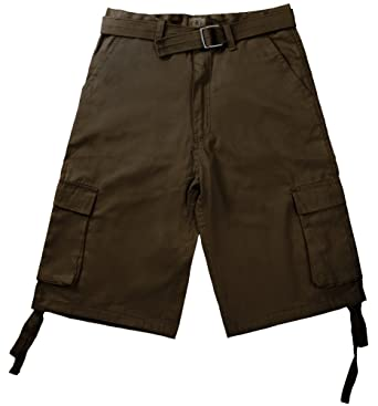 North 15 Men's Belted Crafted Cargo Pockets Twill Cotton Shorts ...