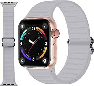 JIEBAO Silicone Solo Loop Compatible with Apple Watch Bands 44mm 42mm 40mm 38mm, Adjustable Waterproof Stretchy Soft Sport Elastics Replacement Strap Compatible for iWatch Series SE/6/5/4/3/2/1