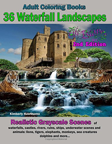 adult-coloring-books-36-waterfall-landscapes-2nd-edition-realistic-original-scenes-of-waterfalls-castles-rivers-ruins-ships-underwater-scenes-escapes-adult-coloring-books-volume-2