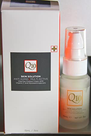 Q10 Skin Solution Anti Aging Multi Active Vital Eye Contour Cream With Vitamin C And Glycosaminoglycans .5 Oz.