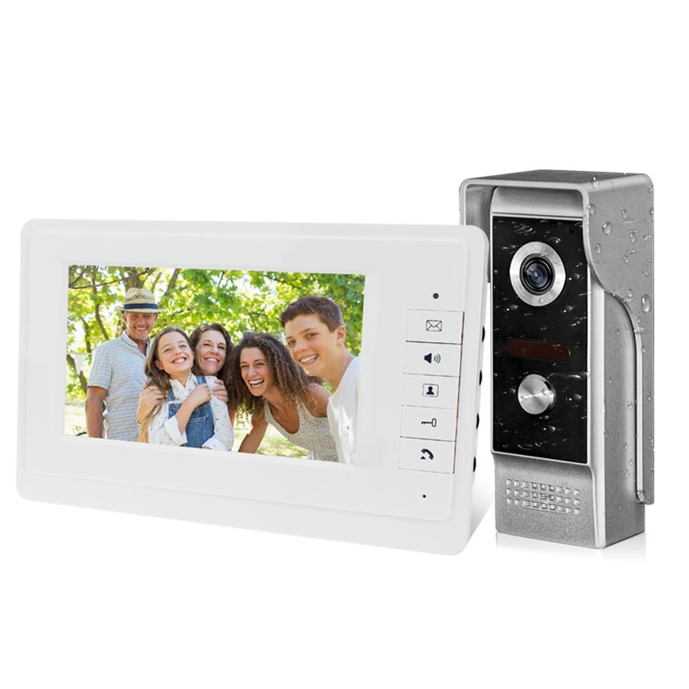 """LIBO 7"""" Video Intercom Wired Home Video Door Entry System, One Indoor Monitor with One Outdoor Camera, Waterproof Rainproof IR Night Vision, Two-Way Audio"""