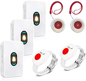 Daytech Caregiver Pager System Call Button Personal Alert Pager for Home Elderly Attendant Patient Nurses Seniors and Disabilities 3 Receiver & 2 Waterproof Transmitters 2 Watch Call Button