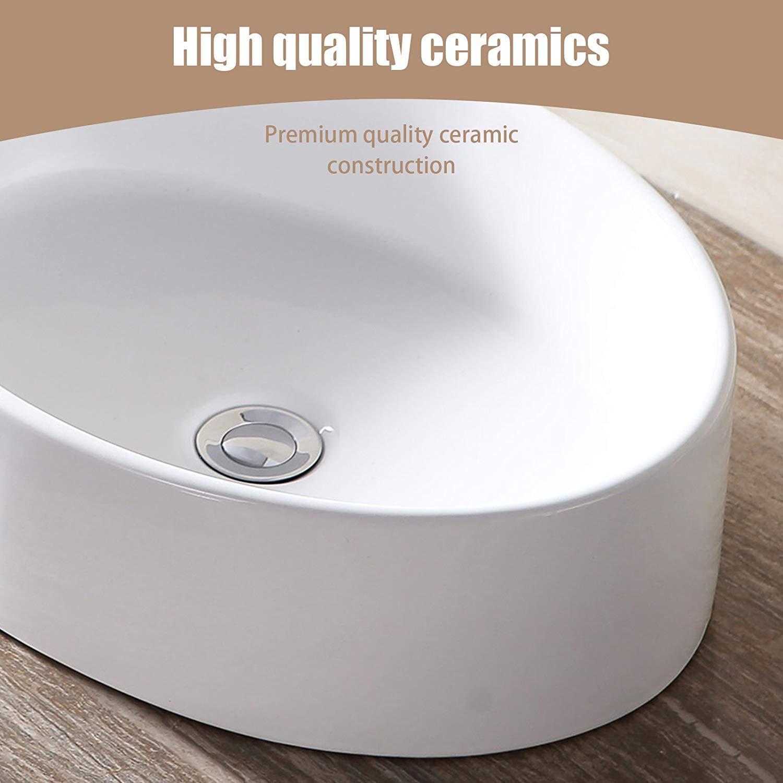 Mecor 20x14 Oval White Porcelain Bathroom Ceramic Vessel Sink Bowl Basin with Pop-up Drain