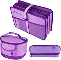 ZUCA Back to School Set - Lilac Purple Document Organizer, Lunchbox and Pencil Case