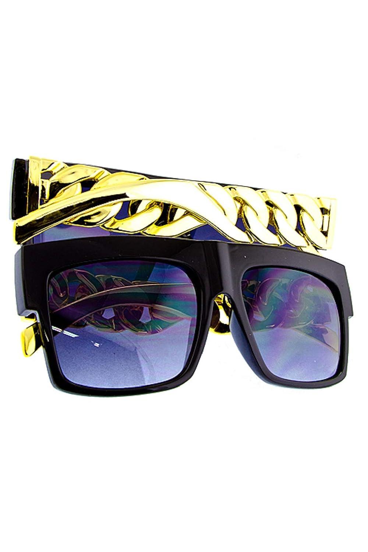Glam Gold Chain Link Design Black Frame Hip Hop Sunglasses