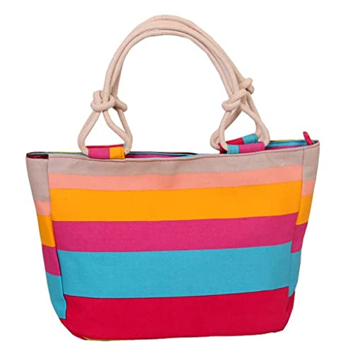 8c93a022a155 Fieans Ladies Leisure Colorful Stripe Canvas Handbag Shopping Beach ...