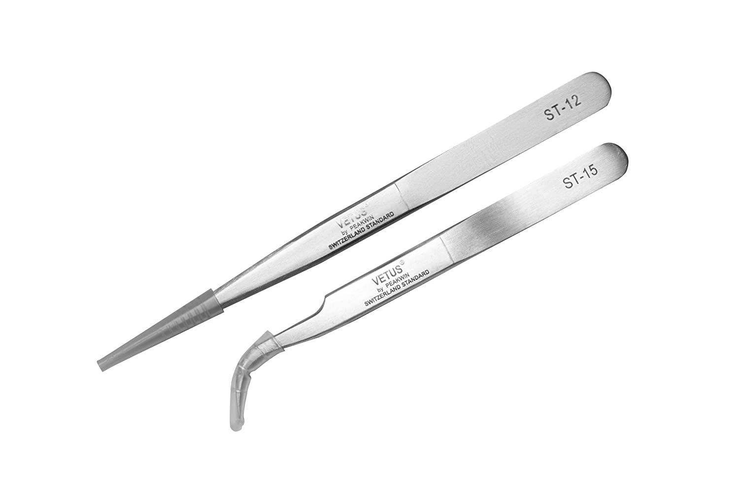 [Set of 2 pcs] Fine Precision Beauty Tweezers Vetus ST-12 (135mm) and ST-15 (120 mm) Professional Tool for Eyelash Extensions, Stainless Steel tweezer Curved/Straight