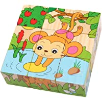 Mr.Toywoods - 6 in 1 Animal Wooden Puzzle Blocks for Kids , Fun & Learning Toy