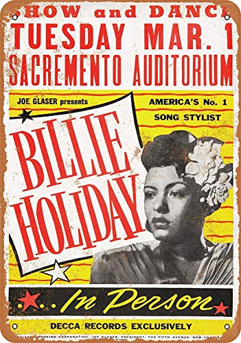 Iliogine 1949 Billie Holiday in Sacramento Vintage Look Metal Wall Sign Art Christmas Funny Gifts for Women ()