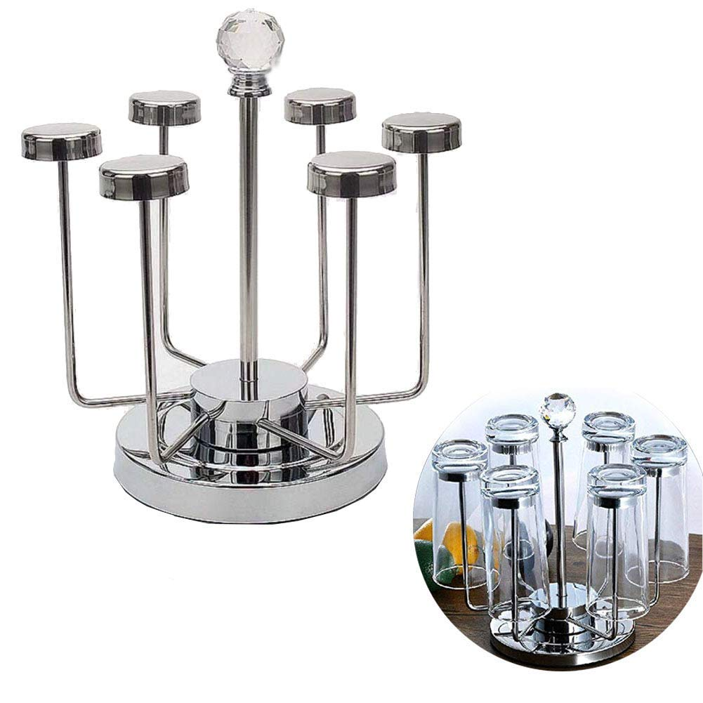 Vivian Rotating Cup Mug Glass Holder Rack Stainless Steel 6 Cups Drying Rack Stand by Vivian