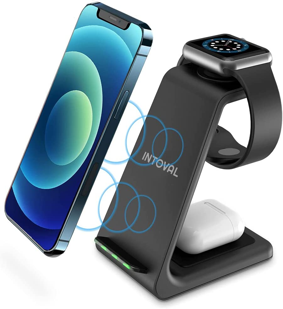 Intoval Wireless Charging Station, True 3 in 1 for Apple iPhone/iWatch/Airpods,iPhone 12 Pro Max/12 Pro/12/11 Pro Max/11/XS/XR/XS/X/8,iWatch 6/SE/5/4/3/2,Airpods Pro/2/1 (A3,Black)
