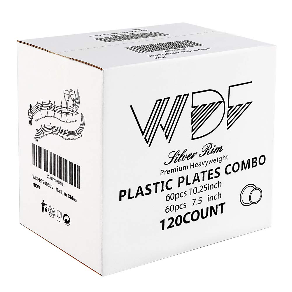 WDF 120PCS Silver Plastic Plates-Disposable Plastic Plates with Silver Rim- Plastic Wedding Party Plates including 60Plastic Dinner Plates 10.25inch,60 Salad Plates 7.5inch by WDF (Image #5)
