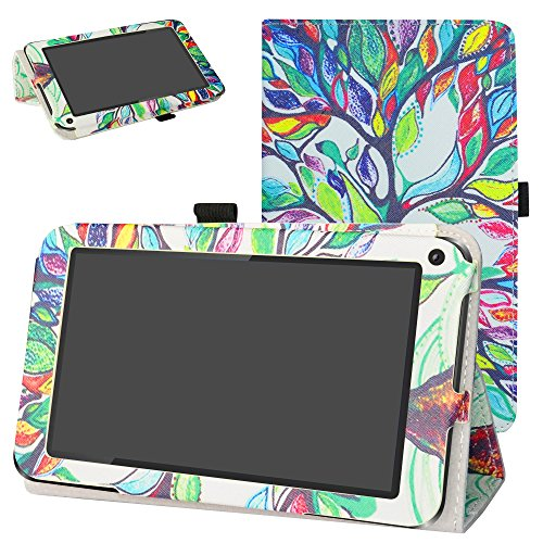 DigiLand DL7006 / DL718M / DL721-RB Case,Mama Mouth PU Leather Folio 2-Folding Stand Cover with Stylus Holder for 7.0