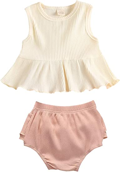 2PCS Newborn Baby Girl Cute Romper Cotton Ruffle Sleeve Clothes Top Shorts Outfit