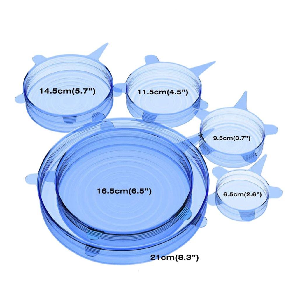 Lvguang 6pcs Tapas de Silicona Extensible Cubiertas Mantener Alimento Fresco Set de 6 unidades en Varios Tamaños Azul