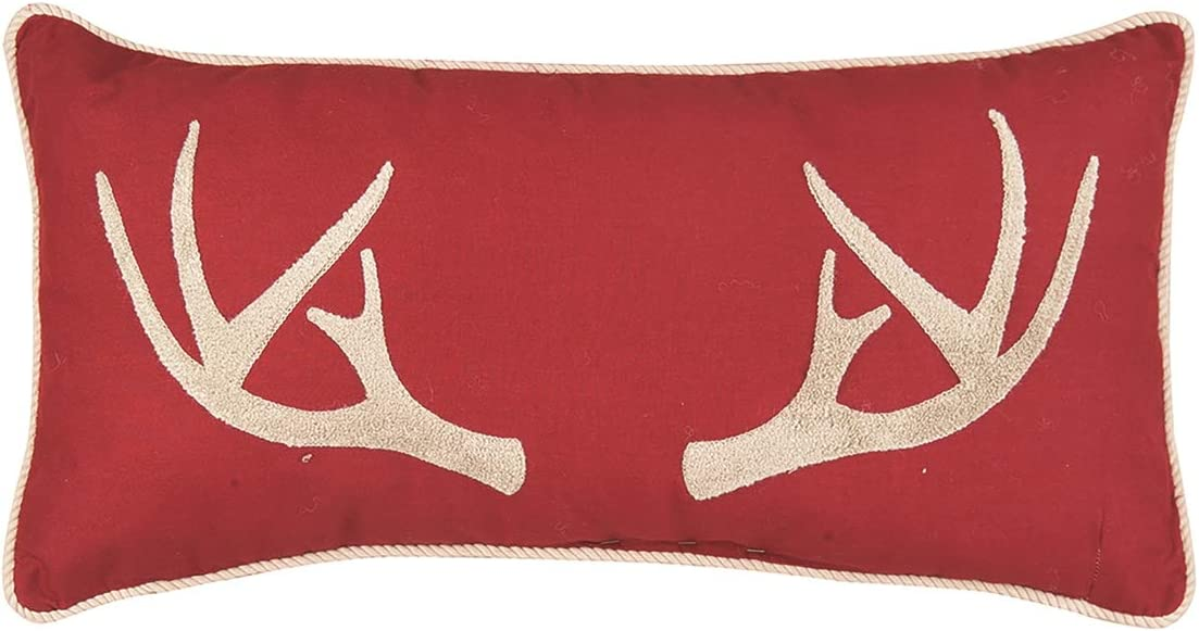 C F Home Tufted Antler Pillow 12 x 24 Red