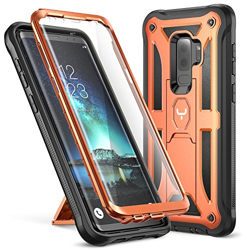 Galaxy S9+ Plus Case, YOUMAKER Full-body Rugged Kickstand Case with Built-in Screen Protector Heavy Duty Protection Shockproof Case Cover for Samsung Galaxy S9 Plus 6.2 inch (2018) - Orange/Black