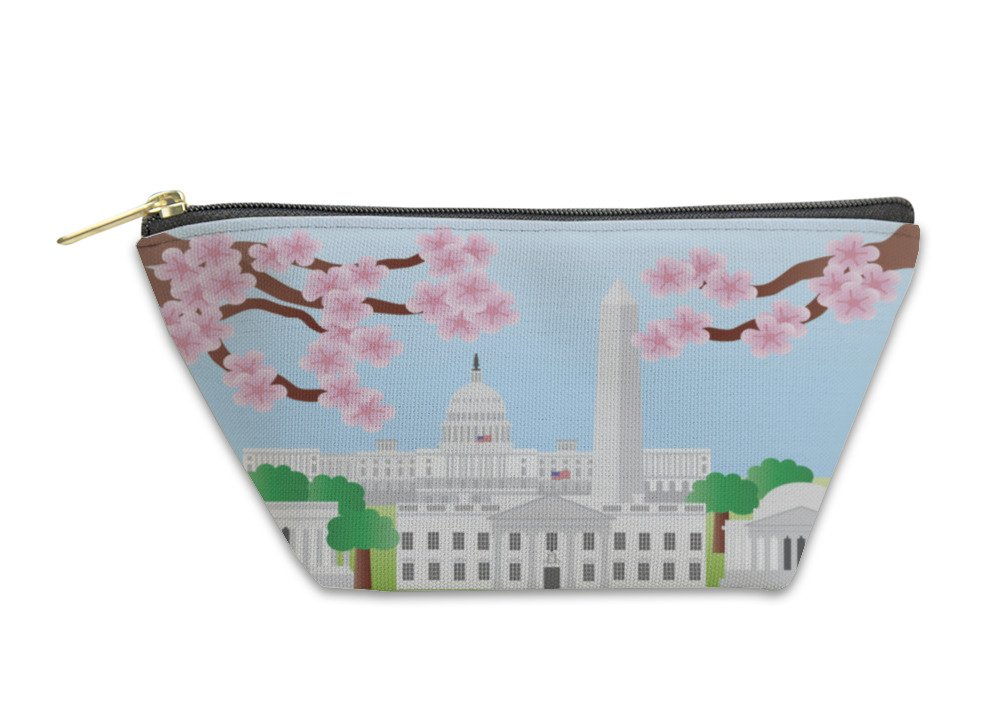 Gear New Accessory Zipper Pouch, Washington Dc Landmarks With Cherry Blossom, Small, 5580511GN