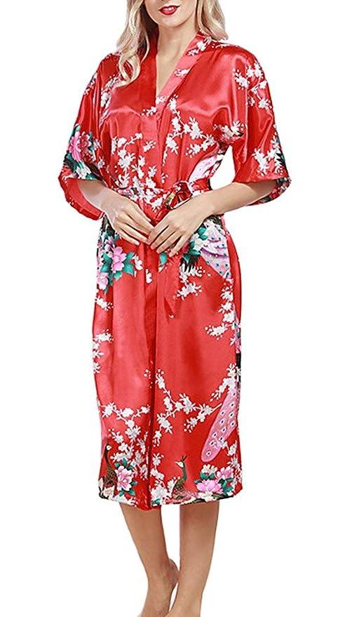 Martinad Peacock Satinado Traje del Kimono Trajes De La Dama ...