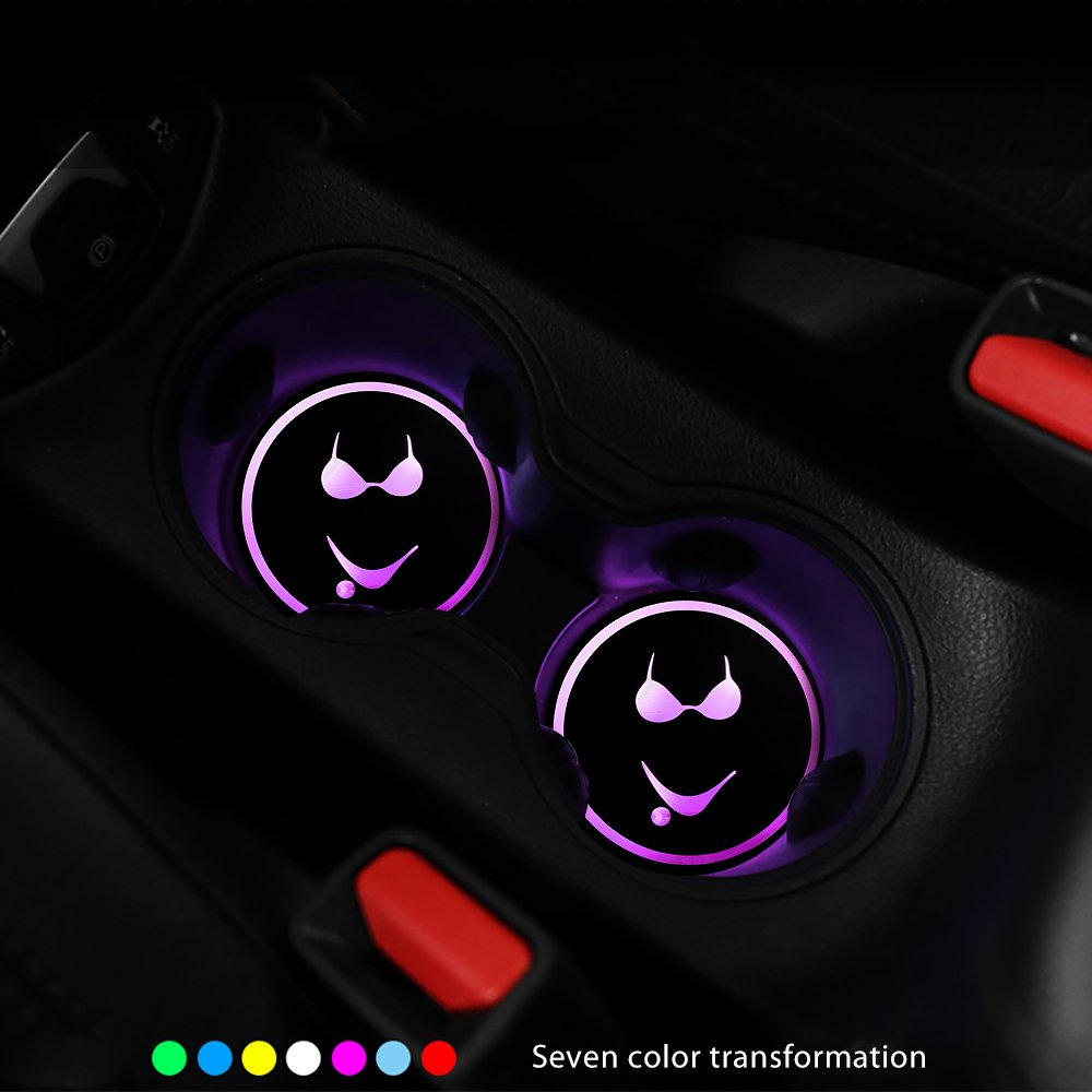 DS-Mart 2pcs Car Cup Mat 7 Colors USB Charging Car Interior Decoration Atmosphere LED Cup Coasters Car Cup Holder