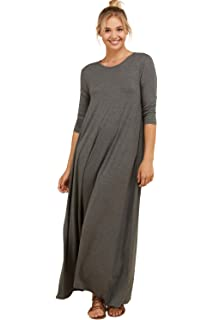 0d2ddcbb5b Annabelle Women's Uneven Hem Solid Knit 3/4 Sleeve Pocketed Casual Maxi  Dresses S-