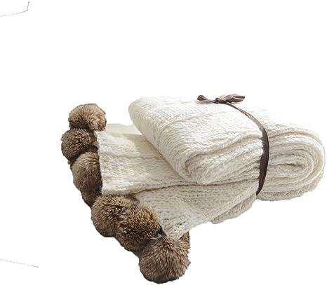 alicehome acogedor algodón Knit Mantas pompón Lovely salón carcasa de punto manta blanco blanco Talla:130cm*160cm: Amazon.es: Bebé