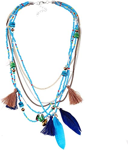 3 Layers Necklaces Necklace Boho Pendant Women Feather Leaf Turquoise Beads Gift