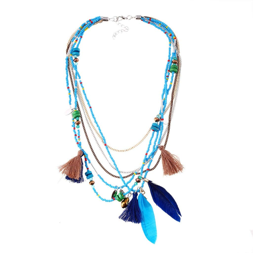 Clearance Oillian Women Fashion Multi-Layer Handmade Chain Beaded Bohemian Jewelry Feather Necklace Chain Pendant Gift for Mom Lady Girlfriend Wife (C)