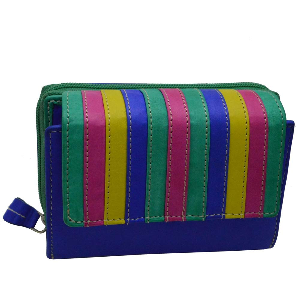flevado Multi-coloured women's wallet genuine leather bright colourful with RFID protection.