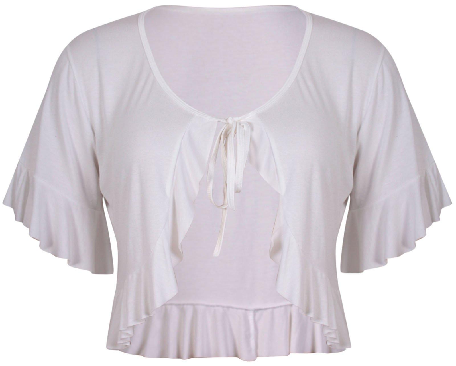 PurpleHanger Women's Short Sleeve Frill Crop Shrug Plus Size Cream 12-14