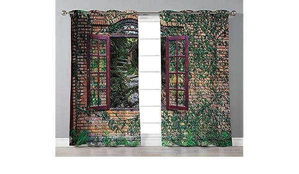 Cortinas opacas con aislamiento térmico para ventana, diseño de indigo, arco iris, multicolor, 2 cortinas para ventana, para sala de estar, dormitorio: Amazon.es: Hogar