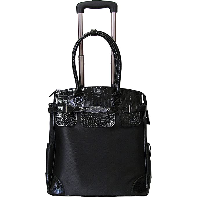 Amerileather Deluxe Skylar Large Women s 17-inch Rolling Tote with Laptop  Compartment Black 7bba88dc3