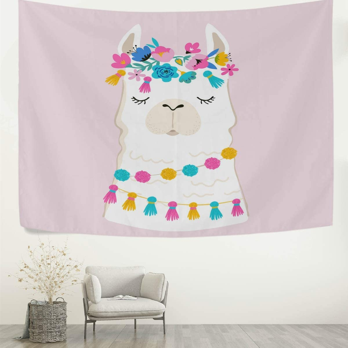 AGONA Cute Animal Llama Alpaca Floral Wall Tapestry Tapestry Wall Hanging Decorative Tapestries Wall Art Wall Blanket Bedding Tapestry for Bedroom Living Room Dorm Home Decor 90 x60