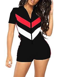 Imagine Women Short Sleeve Bodysuit V Neck Zip Up One Piece Club Leotard  Shorts Stretchy Tight c8bbe30d3