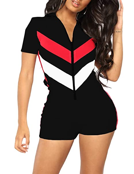1d101d88f36f Amazon.com  Imagine Women Short Sleeve Bodysuit V Neck Zip Up One Piece  Club Leotard Shorts Stretchy Tight Jumpsuits Romper  Clothing