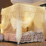 Four corner princess wind mosquito net bed canopy, Three-door opener Stand landing Court Double Home mosquito-curtain-G Twin2