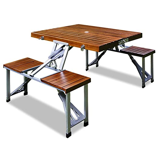 Wooden Folding Camping Outdoor Picnic Table And Bench Stool Set Brown