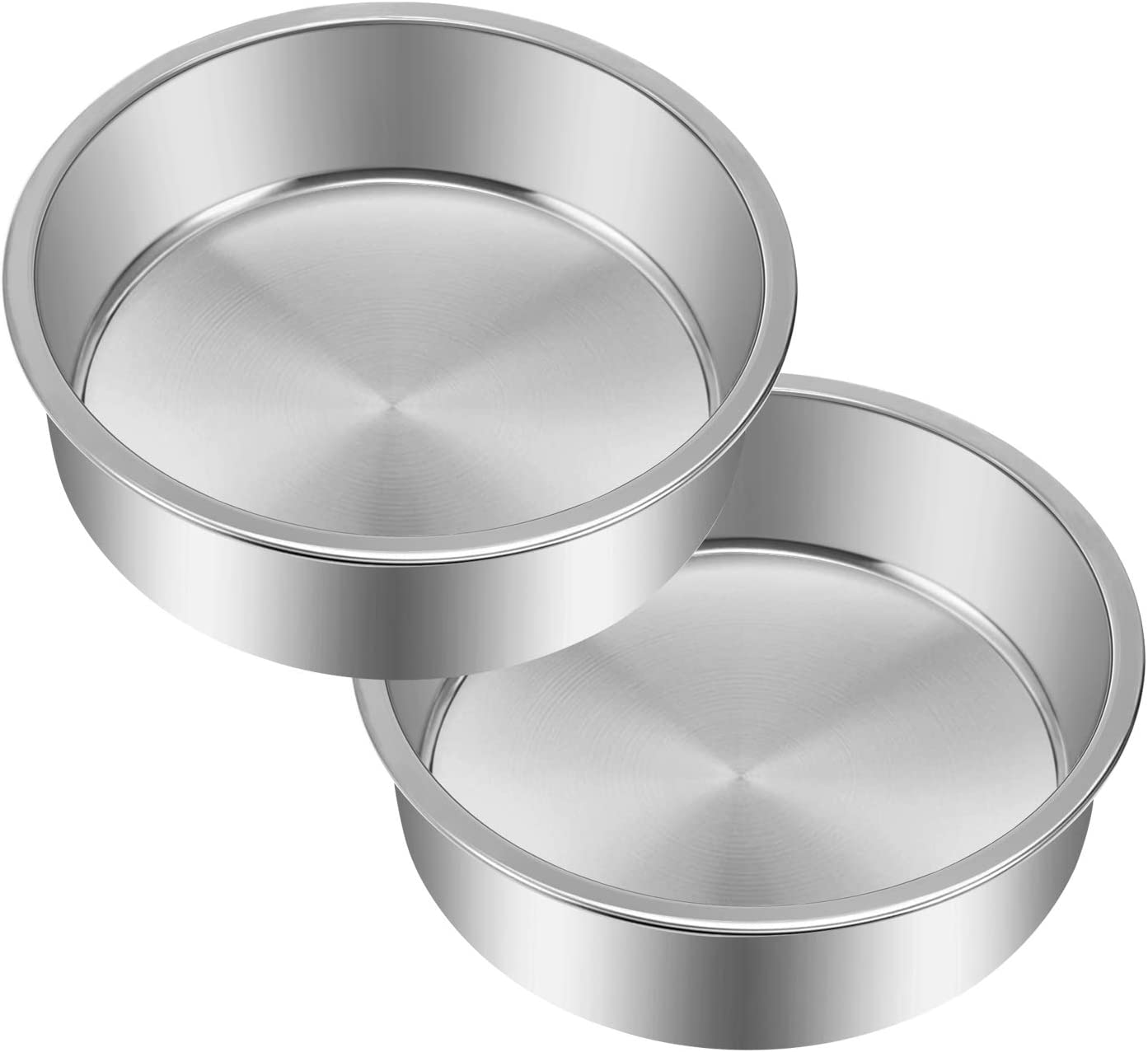 6 Inch Cake Pan Set of 2, Yododo Stainless Steel Round Cake Pans Tier Baking Pans, Fit in Pot Pressure Cooker Air Fryer, One-piece Molding, Heavy Duty, Mirror Finish & Dishwasher Safe