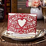 Laser Cut Red Hollow Heart Design Romantic Wedding Invitations Cards Marriage Celebration Announced Cardstock CW5017 (100)