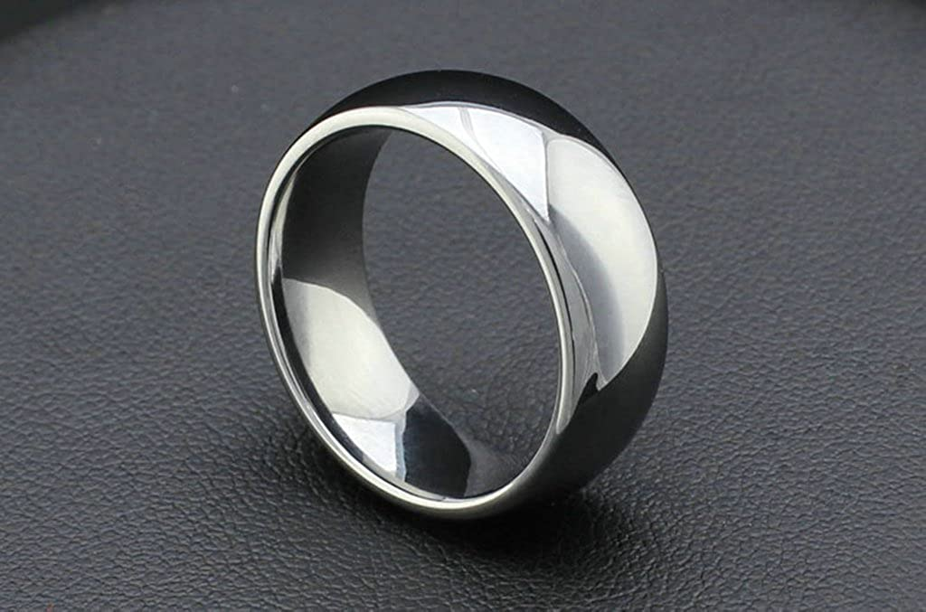 Tianyi 8MM Stainless Steel Wedding Band Ring Chrome High Polished Classy Domed Ring