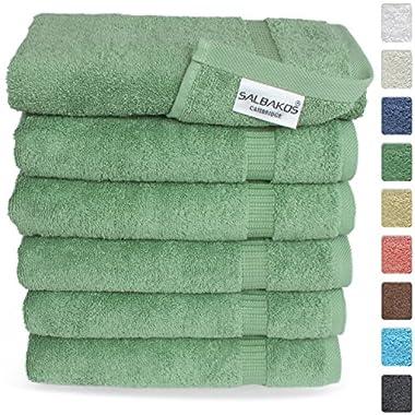 Turkish Luxury Hotel & Spa 16 x30  Hand Towel Set of 6 - 100% Genuine Turkish Cotton - Organic Eco-Friendly (Hand Towels, Green)