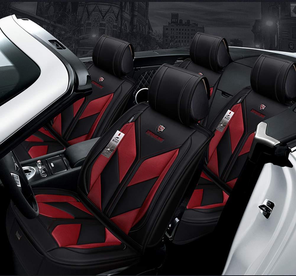 La nouvelle housse de si/ège universelle Four Seasons int/égrale avec airbag compatible avec cinq coussins de si/ège avant et arri/ère en tissu de polyester et cuir,Blue