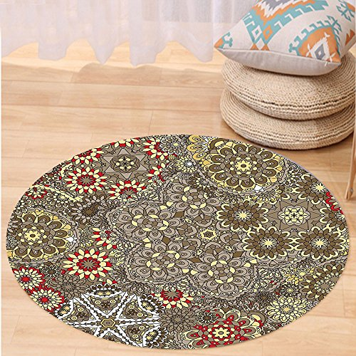 VROSELV Custom carpetBatik Decor Vintage Paisley Forms with Batik Style Flowers and Circles Moroccan Persian Patterns for Bedroom Living Room Dorm Multi Round 72 inches - Hanger Style Double Sided Floor