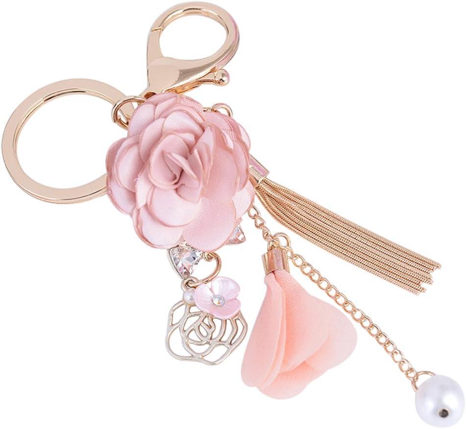 Ladies Handbag Charm Key Ring Gift Teal Flower Keychain for Women