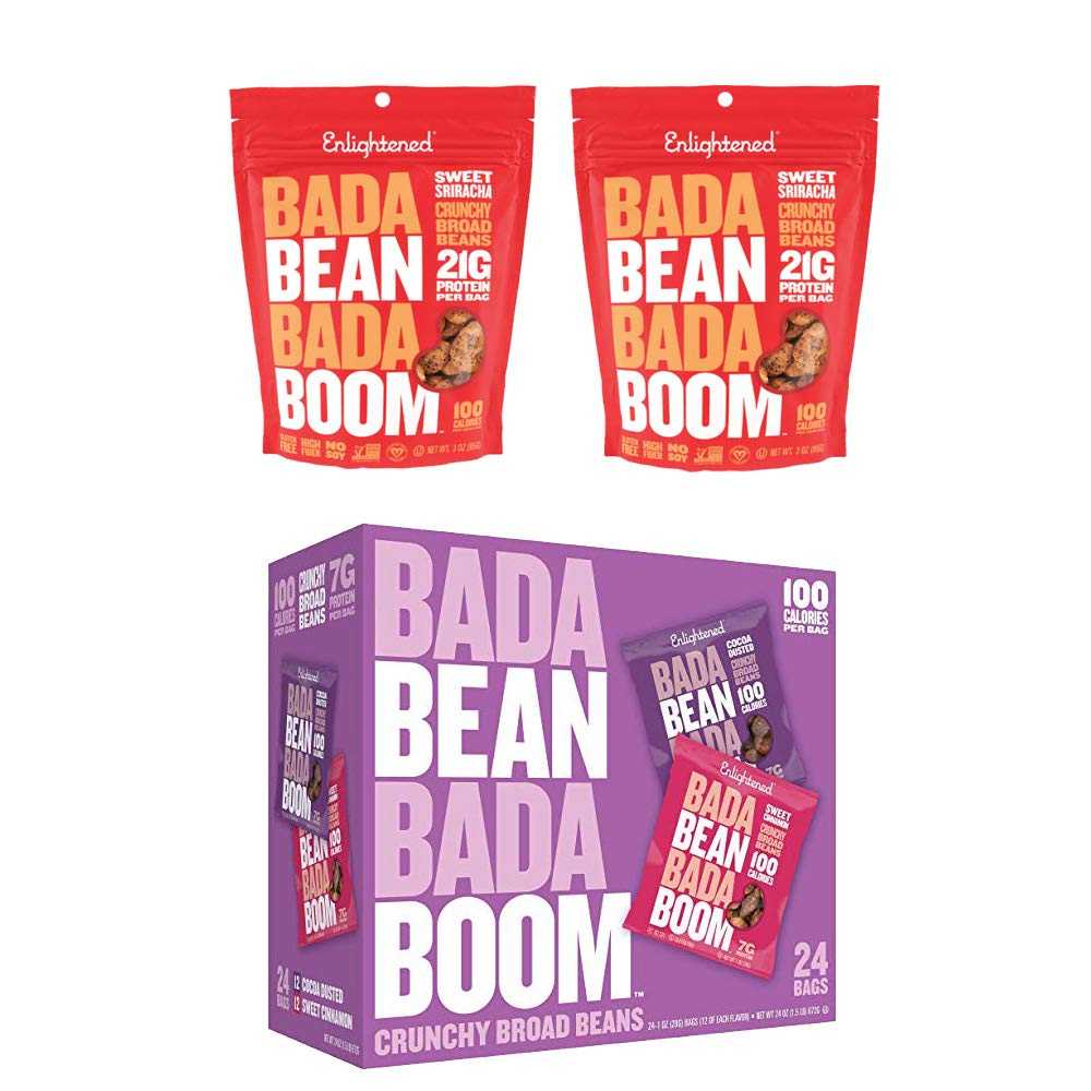 Enlightened Plant Protein Gluten Free Roasted Broad (Fava) Bean Snack, Sweet Variety Pack, 1.0 oz, 24 Count AND 2-4.5 ounce bag Enlightened Sriracha Crisps