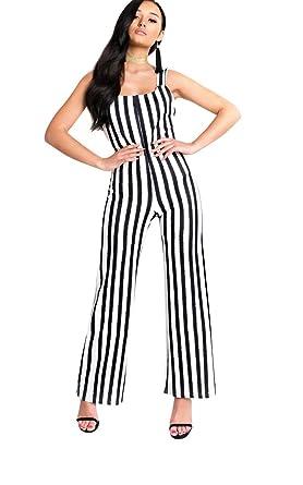 edd5302e744 Ikrush Womens Nora Striped Wide Leg Jumpsuit Black White  Amazon.co.uk   Clothing