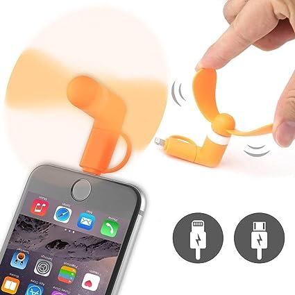 ONX3 Orange Ventilateur//Ventilateur de t/él/éphone Portable de Poche du Mini-connecteur de Poche de connecteur Micro dUSB Compatible avec Samsung Galaxy A10